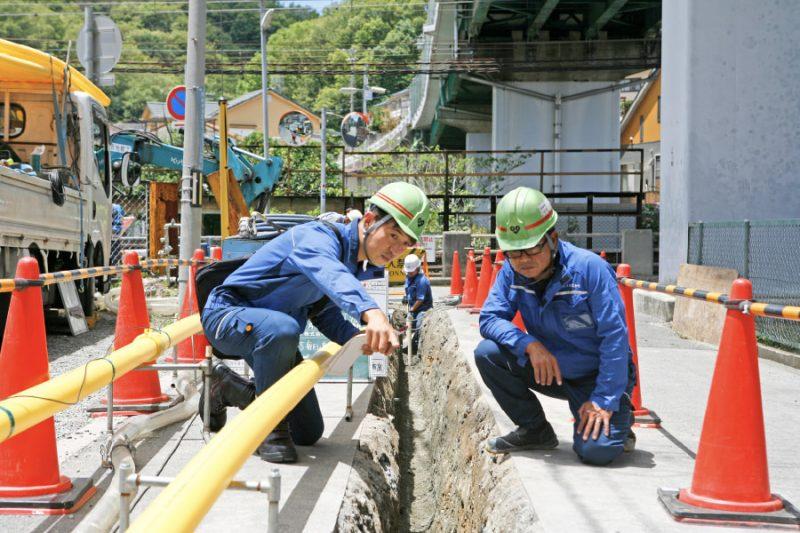 ガス導管工事の様子